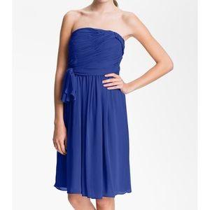 Calvin Klein Strapless Ruched Chiffon Dress